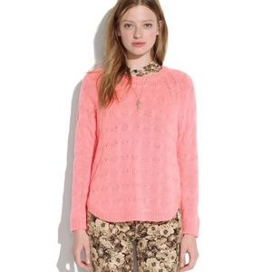 WALLACE Madewell Cutaway Cableknit Sweater Pink